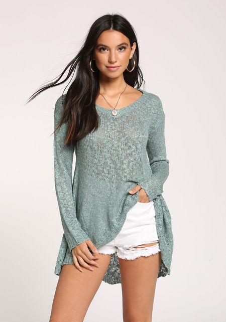 Teal Hi-Lo Sweater Top