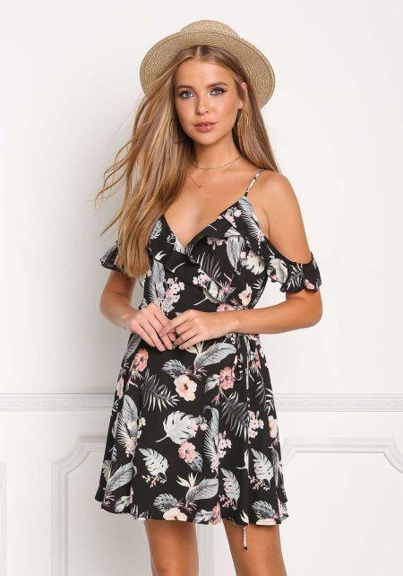 Black Cold Shoulder Floral Wrap Dress