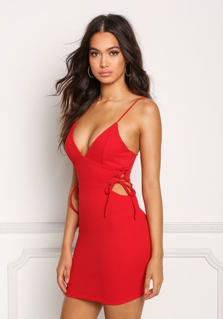 Red Plunge Side Lace Up Bodycon Dress