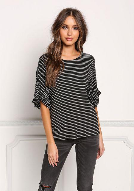 Black and White Ruffle Sleeve Stripe Top