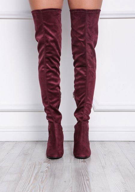 Wine Suedette Thigh High Boots