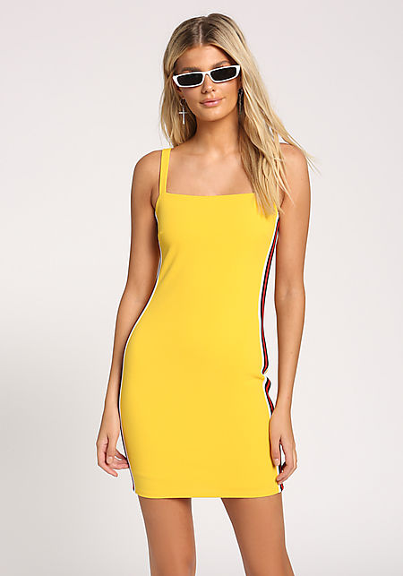 037d9fcf95fd3 Yellow Side Stripe Bodycon Dress ...