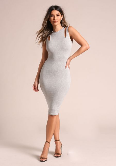 Heather Grey Double Strap Sleek Bodycon Dress