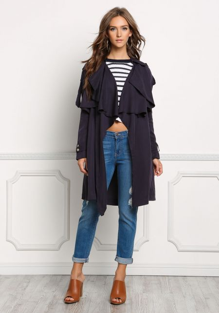 Navy Layered Duster Coat