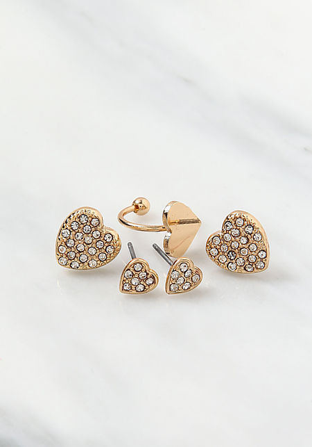 Gold Rhinestone Heart Earrings Set