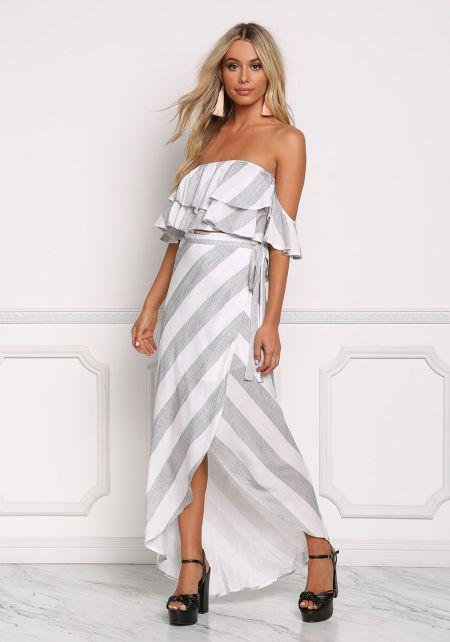 Grey Stripe Linen Wrap Maxi Skirt