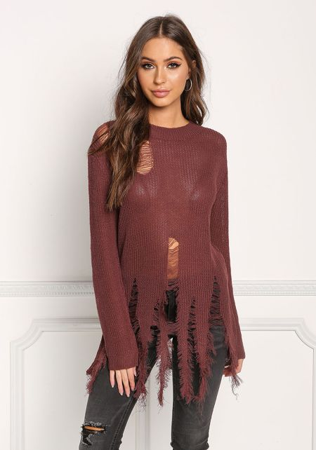 Red Brown Frayed & Distressed Sweater Top