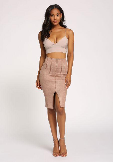 Dusty Rose Faux Suede Zipper Skirt