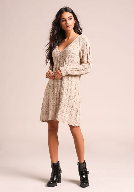 Tan Chunky Cable Knit Sweater Shift Dress