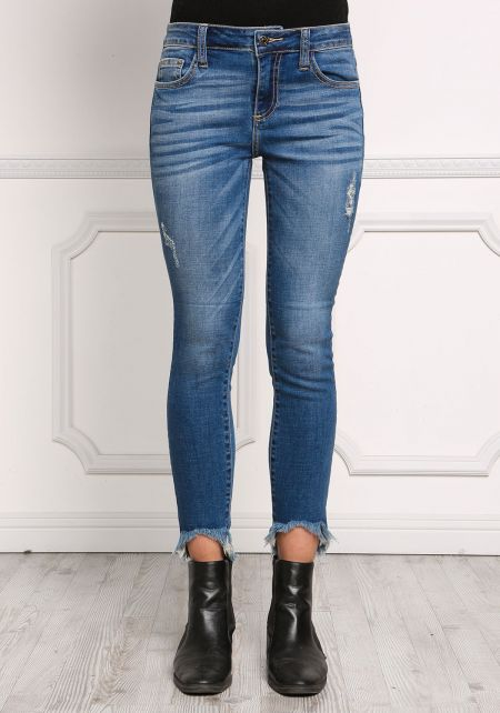 Denim Low Rise Frayed Skinny Jeans