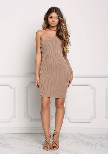 Mocha One Shoulder Side Button Bodycon Dress