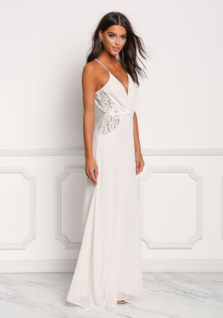 Cream Chiffon Lace Trim Maxi Gown