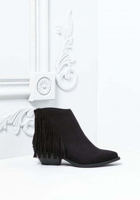 Black Suedette Fringe Stacked Booties