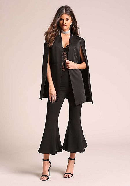 Black Slit Cape Blazer