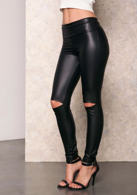 Black Leatherette Slit Knee Leggings