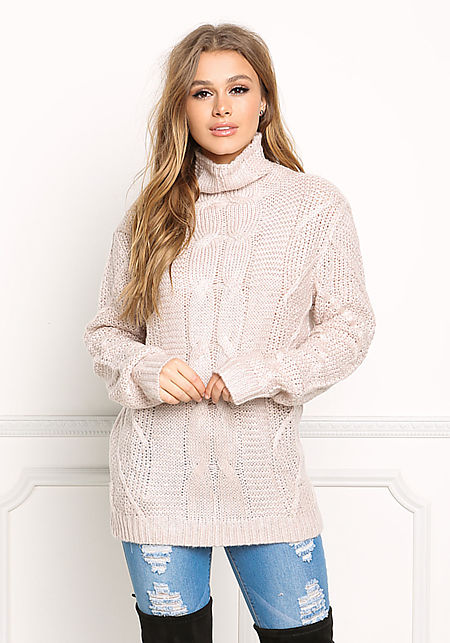 Blush Cable Knit Turtleneck Sweater Top