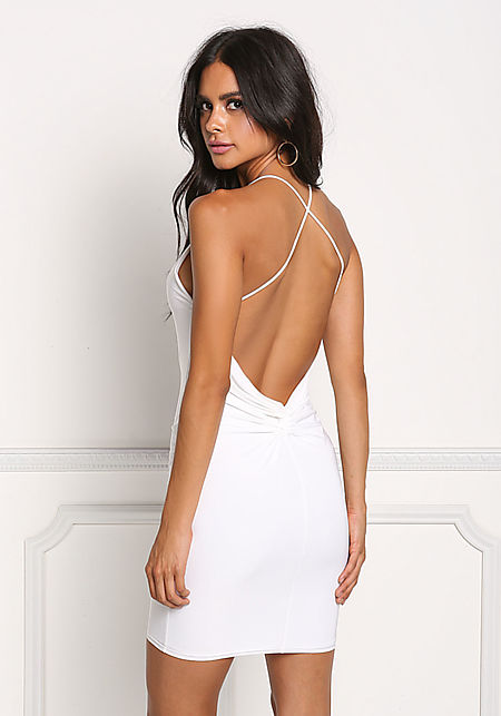 Off White Low Back Cross Strap Bodycon Dress