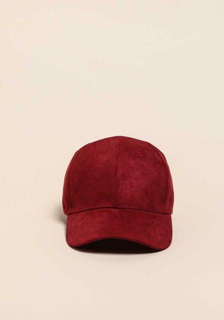 Wine Suedette Baseball Cap