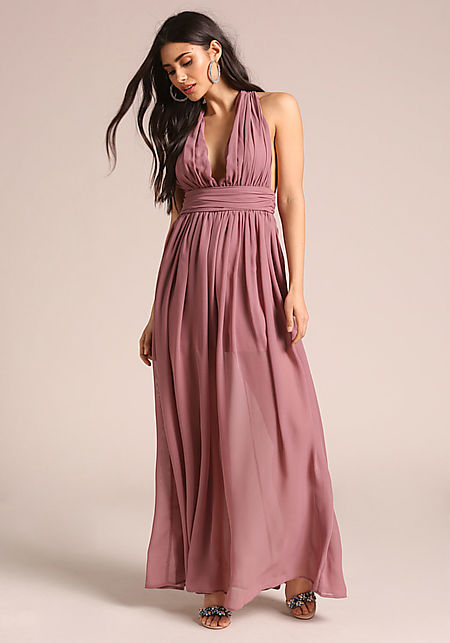 Mauve Gathered Cross Strap Maxi Dress