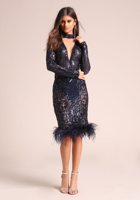 Navy Sequin Faux Feather Choker Bodycon Dress