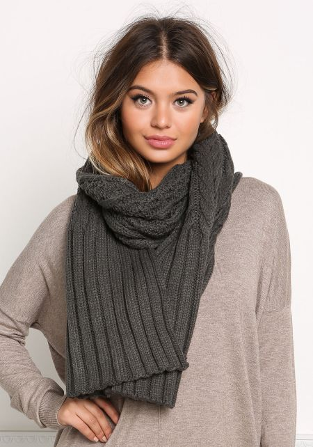 Charcoal Chunky Knit Scarf