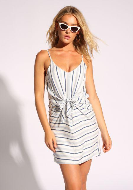 Blue Tie Front Stripe Dress