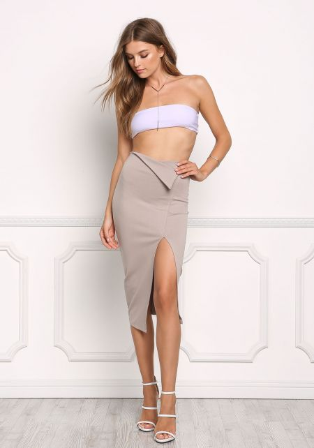 Taupe Fold Over High Rise Slit Skirt