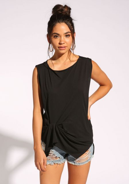 Black Twisted Tank Top