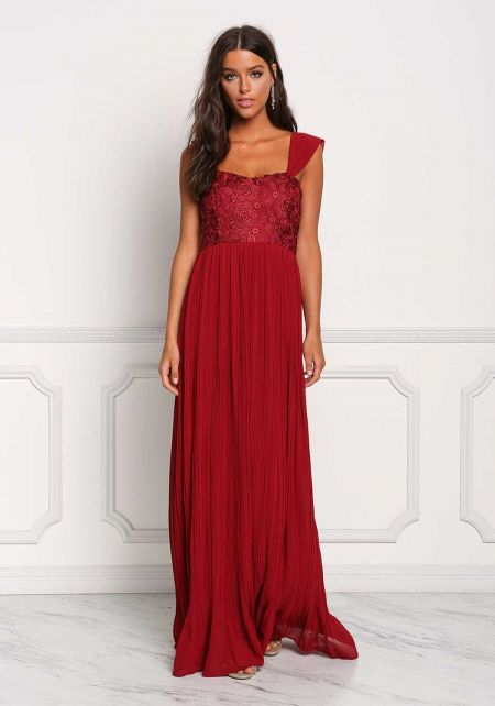 Wine Embroidered Pleated Maxi Gown