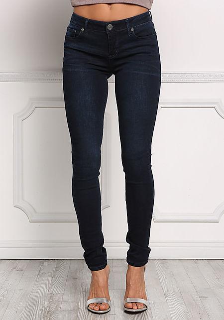 Dark Denim Mid Rise Skinny Jeans