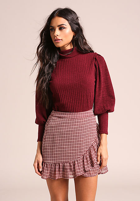 Burgundy Puff Sleeve Ribbed Knit Sweater Top
