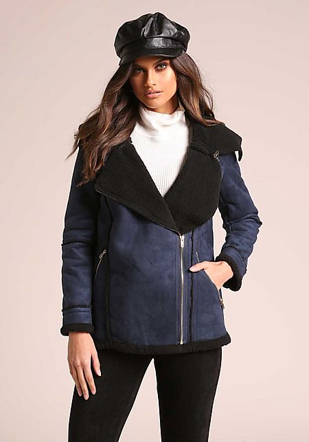 Navy Suedette Faux Shearling Zipper Jacket