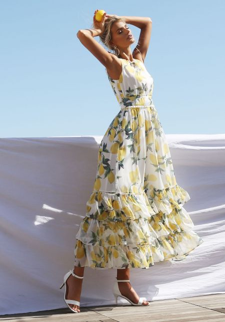 Ivory Ruffle Tiered Lemon Maxi Dress