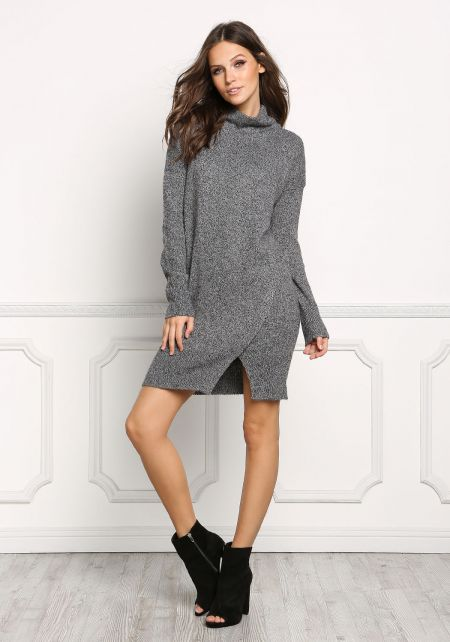Charcoal Turtleneck Thick Knit Shift Dress