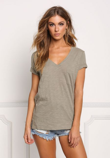 Light Olive Marled V Neck Pocket Tee