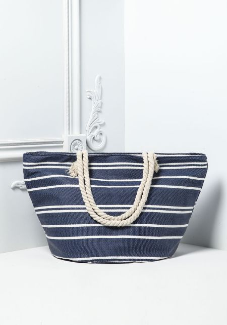 Navy and White Striped Canvas Tote Bag