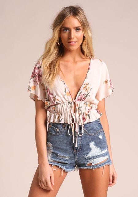 Blush Floral Tie Front Crop Top