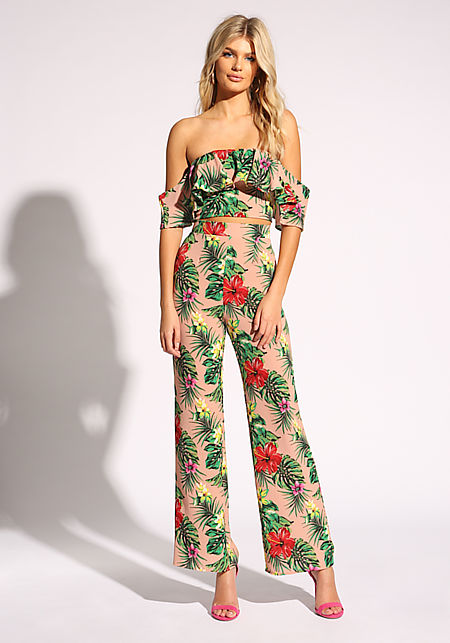 Blush Tropical Floral Palazzo Pants