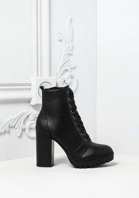 Black Lace Up Block Heel Combat Boots