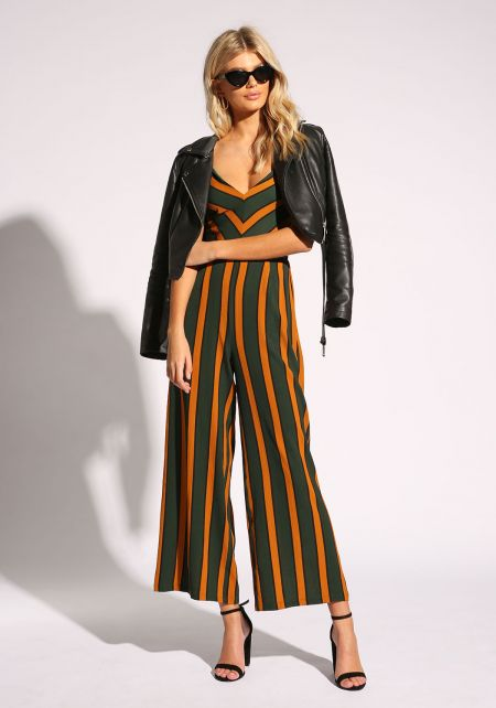 Hunter Green Pinstripe Cross Strap Jumpsuit