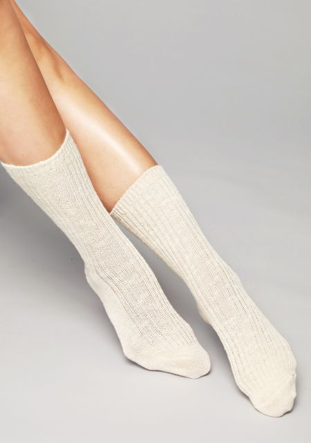 Ivory Marled Knit Crew Socks