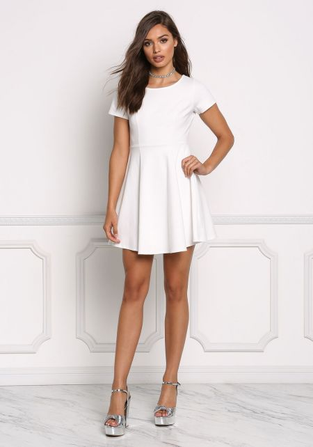White Minimalist Flared Dress