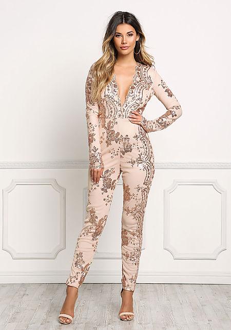 Rose Gold Plunge Sequin Sheer Jumpsuit