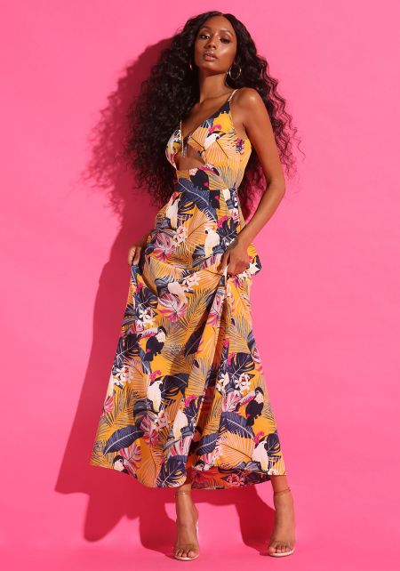 Mustard Tropical Floral Cut Out Maxi Dress
