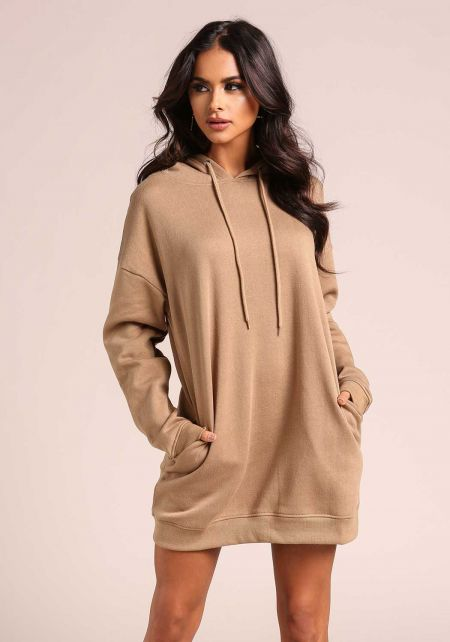 Khaki Hooded Tunic Sweater