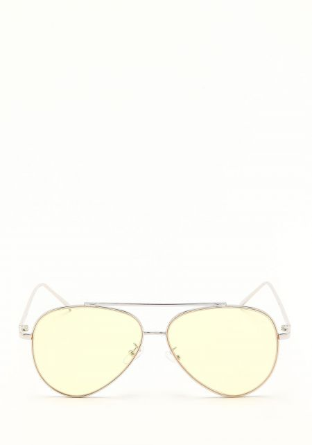 Zero UV Yellow Large Metal Aviator Sunglasses