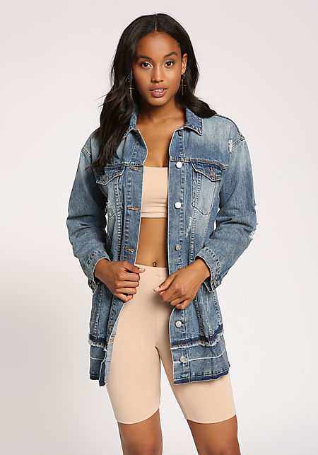 Denim Distressed Dark Wash Panel Jacket