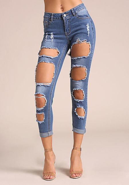 Denim Multi Cut Out Skinny Jeans