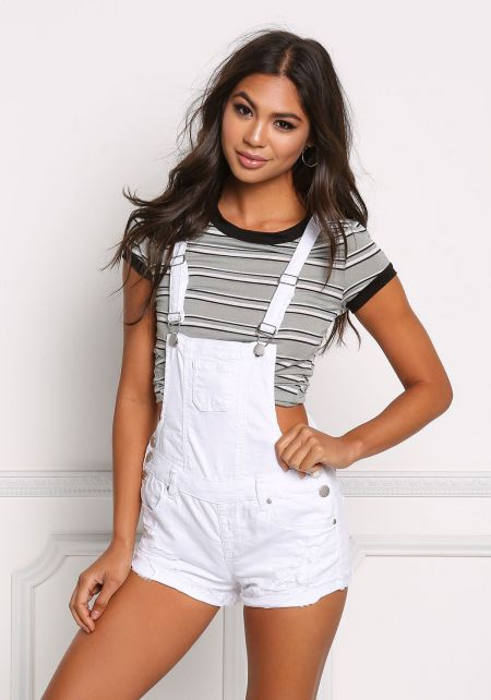 White Denim Distressed & Frayed Overalls