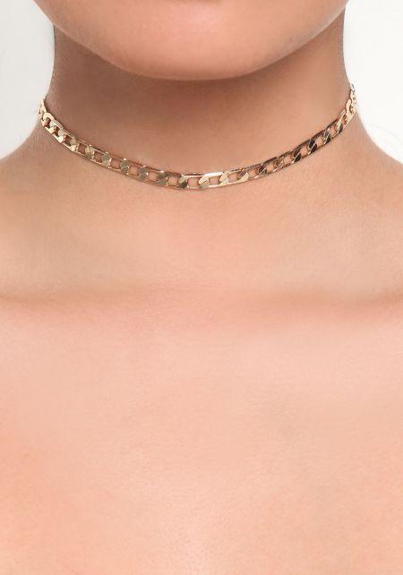 Gold Flat Chain Choker